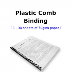 Plastic Comb Binding (1 - 30 sheets of 70gsm paper)