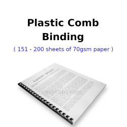 Plastic Comb Binding (151 - 200 sheets of 70gsm paper)