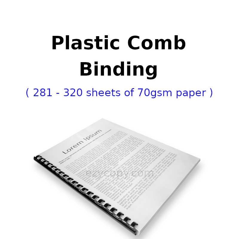 Plastic Comb Binding (201 - 320 sheets of 70gsm paper)