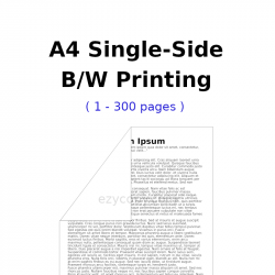 A4 Single-Side B/W Printing (1 - 300 pages)